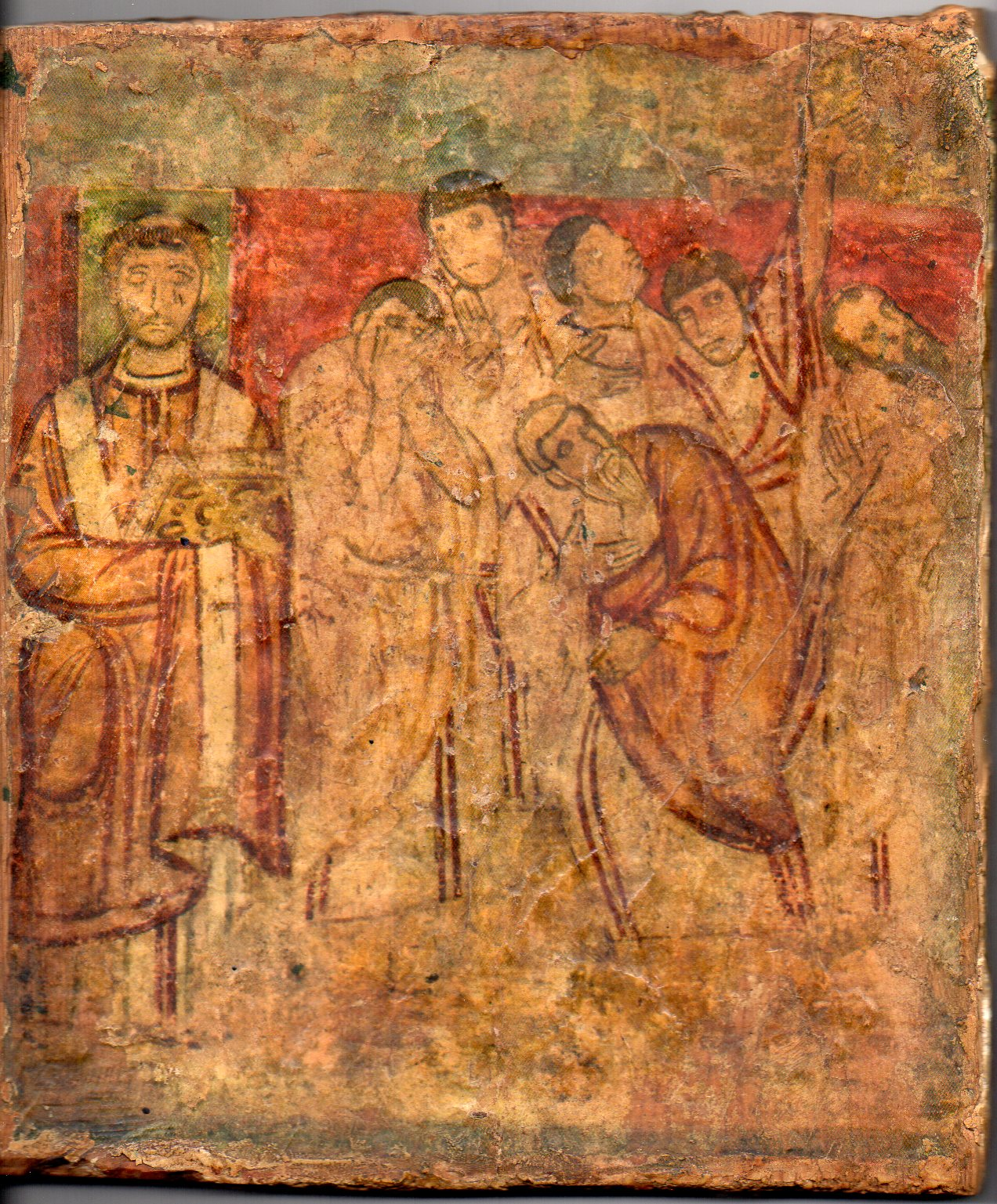 Icône Byzantine de l'Église d'Alexandrie, toile sur plâtre et bois, 1-2ème siècle. On y voit des chrétiens apeurés et craintifs, avec sur la gauche ce qui semble un évêque, peut-être Pamphile de Césarée (à confirmer)